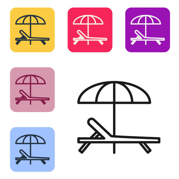 Black line Sunbed icon isolated on white background. Beach umbrella and Sun lounger. Set icons in color square buttons. Vector Illustration Black line Sunbed icon isolated on white background. Beach umbrella and Sun lounger. Set icons in color square buttons. Vector Illustration beach clipart stock illustrations