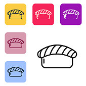 Black line Sushi icon isolated on white background. Traditional Japanese food. Set icons in color square buttons. Vector Illustration