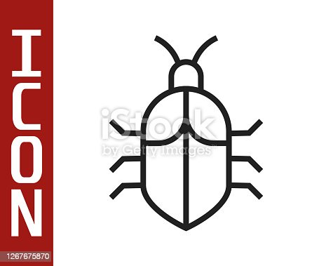 Black line System bug concept icon isolated on white background. Code bug concept. Bug in the system. Bug searching. Vector Illustration