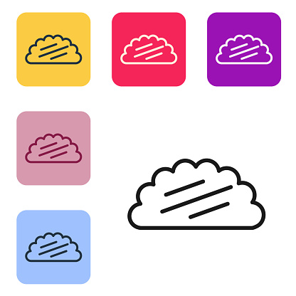 Black line Taco with tortilla icon isolated on white background. Traditional mexican fast food menu. Set icons in color square buttons. Vector Illustration