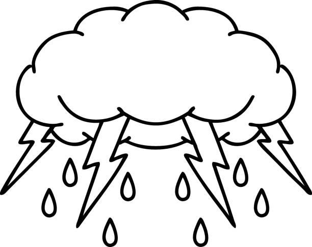 black line tattoo of a storm cloud vector art illustration