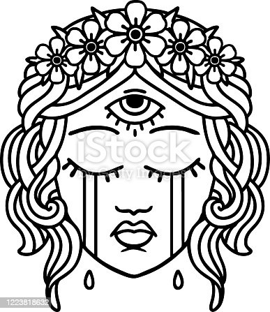 istock black line tattoo of female face with third eye crying 1223818632