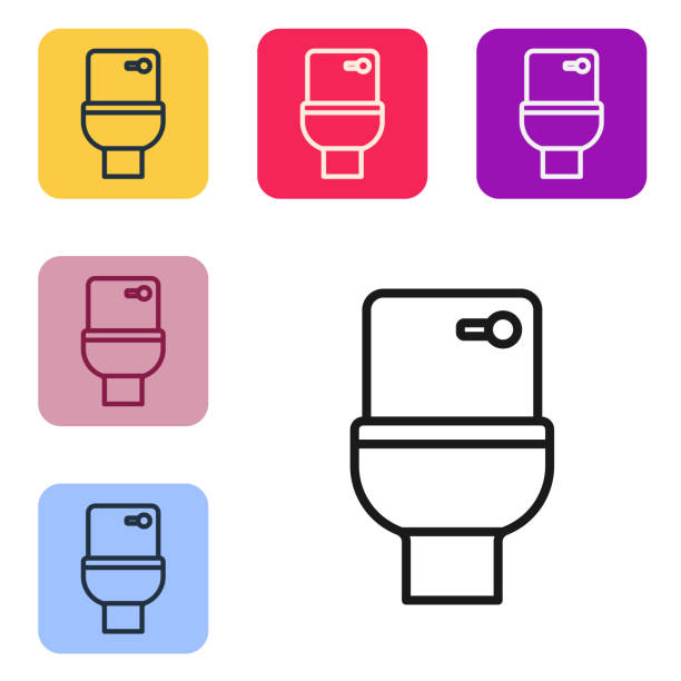 Black line Toilet bowl icon isolated on white background. Set icons in color square buttons. Vector Black line Toilet bowl icon isolated on white background. Set icons in color square buttons. Vector. flushing toilet stock illustrations