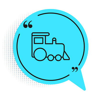Black line Toy train icon isolated on white background. Blue speech bubble symbol. Vector