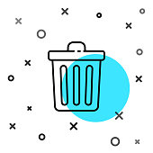 Black line Trash can icon isolated on white background. Garbage bin sign. Recycle basket icon. Office trash icon. Random dynamic shapes. Vector Illustration