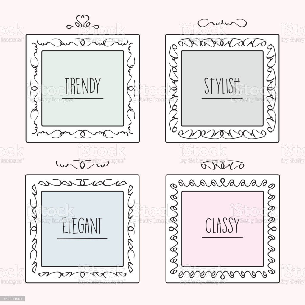 Black Line Trendy And Stylish Doodle Hand Drawn Square Frames Set In ...