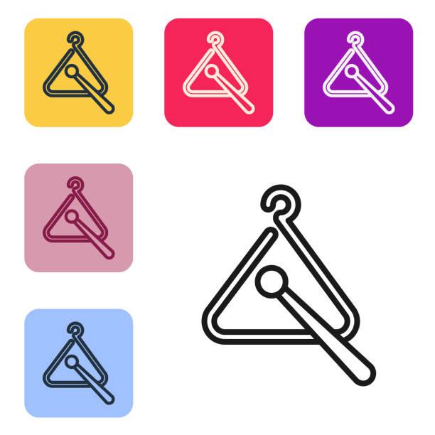 bildbanksillustrationer, clip art samt tecknat material och ikoner med svart linje triangel musikinstrument ikon isolerad på vit bakgrund. ange ikoner i färgrutor. vektor illustration - triangel slagverksinstrument