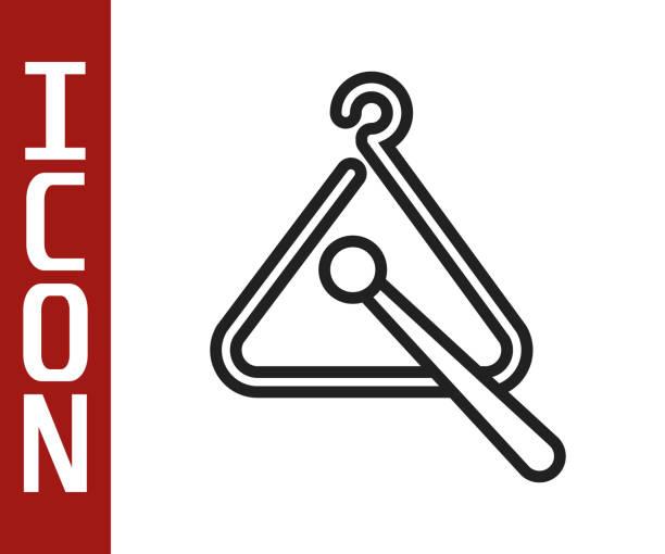 bildbanksillustrationer, clip art samt tecknat material och ikoner med svart linje triangel musikinstrument ikon isolerad på vit bakgrund. vektor illustration - triangel slagverksinstrument