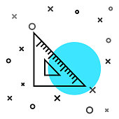 Black line Triangular ruler icon isolated on white background. Straightedge symbol. Geometric symbol. Random dynamic shapes. Vector Illustration