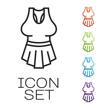 Black line Undershirt icon isolated on white background. Set icons colorful. Vector