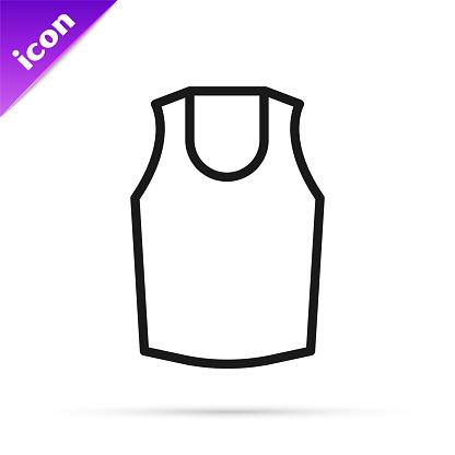 Black line Undershirt icon isolated on white background. Vector