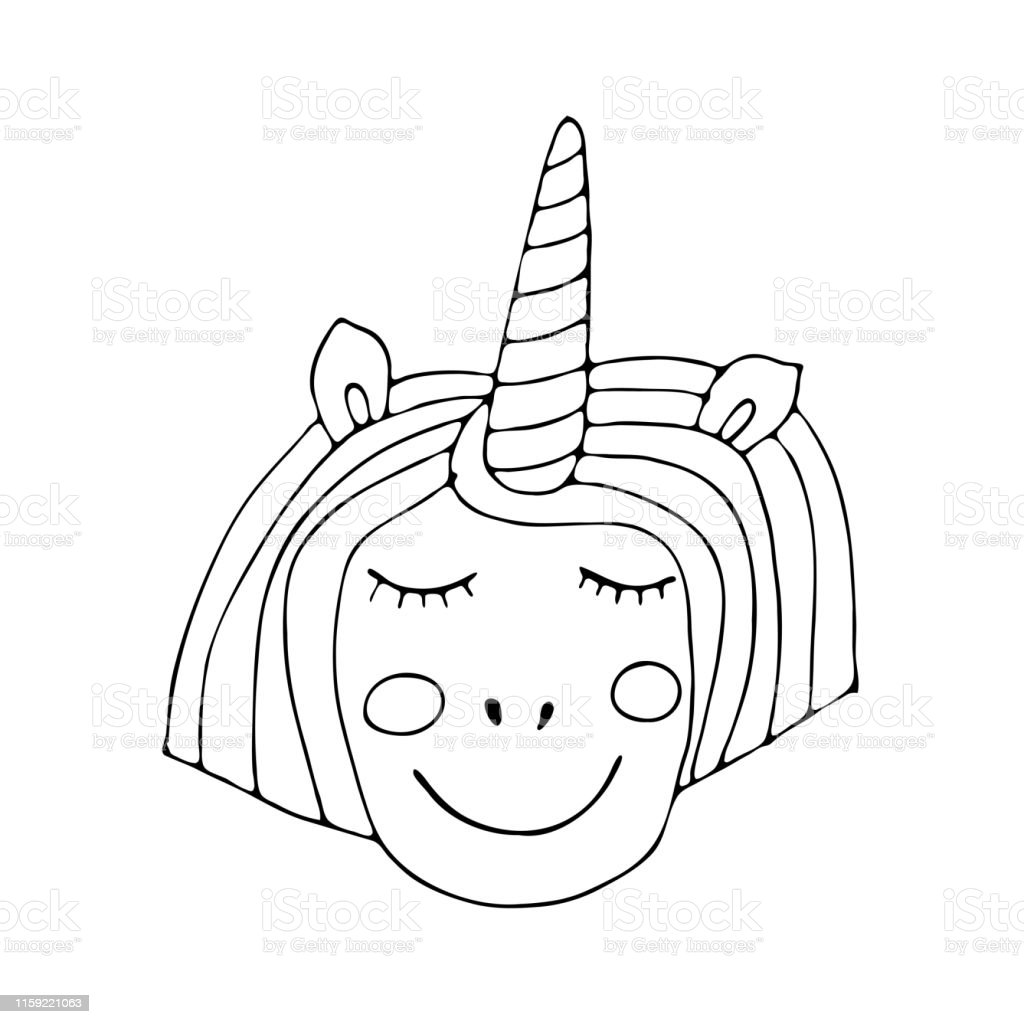 Boyama Kitabi Veya Sayfasi Icin Siyah Cizgi Unicorn Stok Vektor