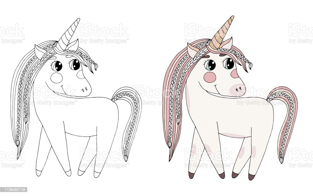 - Black Line Unicorn With Long Hair For Coloring Book Or Pages Stock  Illustration - Download Image Now - IStock