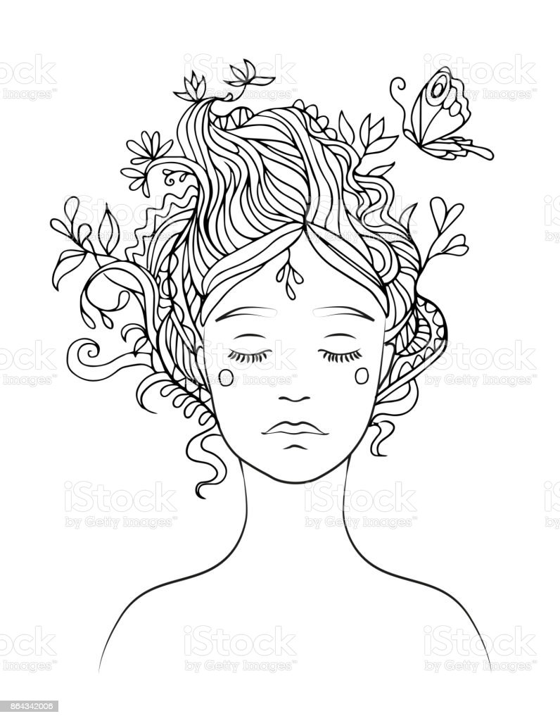 Black line vector drawing of girl's portrait with ornamental hair and flying butterfly - coloring page vector art illustration