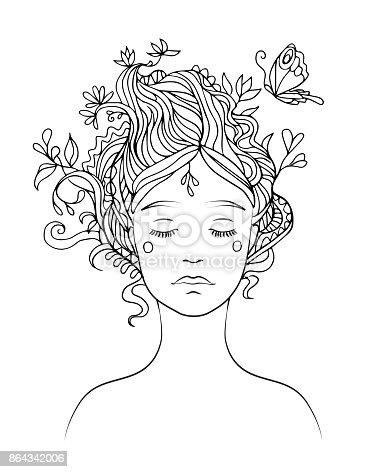 Volwassen Kleurplaten Vrouw Vetor De Linha Preta Desenho De Retrato Da Menina Com