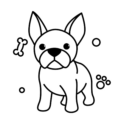 Black line vector illustration cartoon on a white background of a cute French Bulldog.