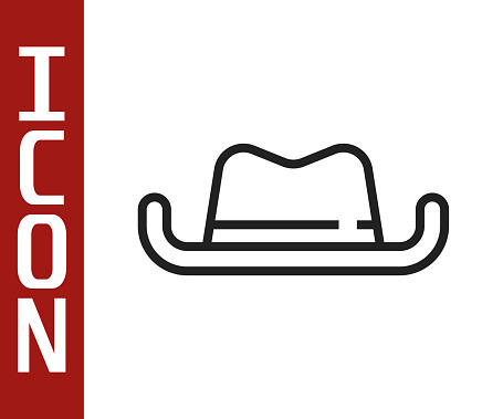 Black line Western cowboy hat icon isolated on white background. Vector.
