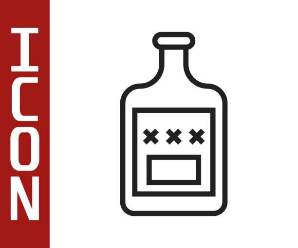 Black line Whiskey bottle icon isolated on white background. Vector Illustration Black line Whiskey bottle icon isolated on white background. Vector Illustration alcohol drink clipart stock illustrations