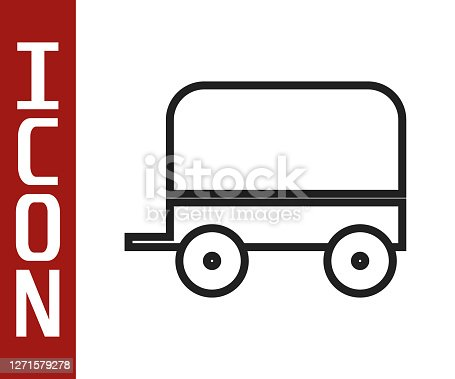 Black line Wild west covered wagon icon isolated on white background. Vector Illustration