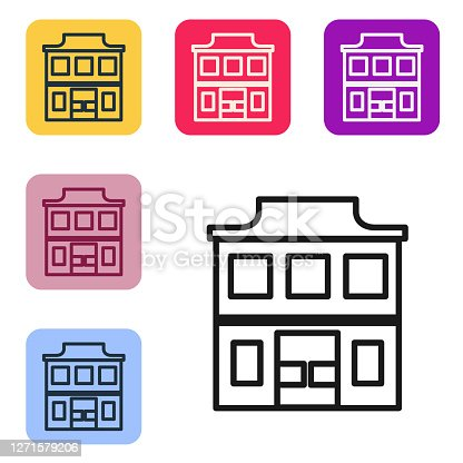 Black line Wild west saloon icon isolated on white background. Old west building. Set icons in color square buttons. Vector Illustration