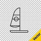 Black line Windsurfing icon isolated on transparent background. Vector Illustration