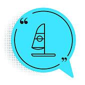 Black line Windsurfing icon isolated on white background. Blue speech bubble symbol. Vector Illustration