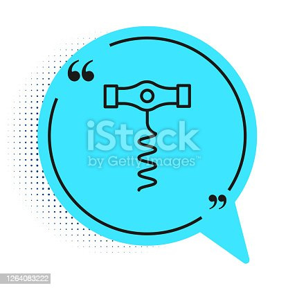 istock Black line Wine corkscrew icon isolated on white background. Blue speech bubble symbol. Vector 1264083222
