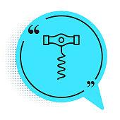 istock Black line Wine corkscrew icon isolated on white background. Blue speech bubble symbol. Vector 1264083222