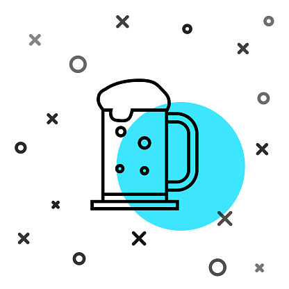 Black line Wooden beer mug icon isolated on white background. Random dynamic shapes. Vector Illustration