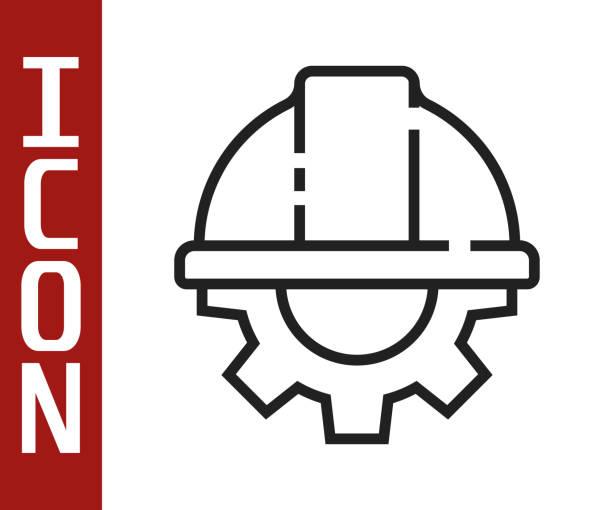 흰색 배경에 격리 된 검은 선 작업자 안전 헬멧 및 기어 아이콘. 벡터 일러스트레이션 - 모자 모자류 stock illustrations