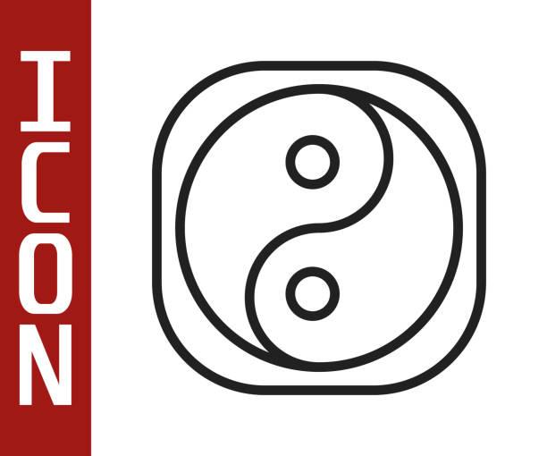 ilustraciones, imágenes clip art, dibujos animados e iconos de stock de línea negra yin yang símbolo de armonía e icono de equilibrio aislado sobre fondo blanco. ilustración vectorial - yin yang symbol