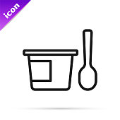 istock Black line Yogurt container with spoon icon isolated on white background. Yogurt in plastic cup. Vector 1313902257