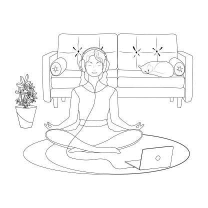A black linear. A young woman in the lotus position. Yoga class. The girl in the headphones. A laptop. A room with a sofa. Vector