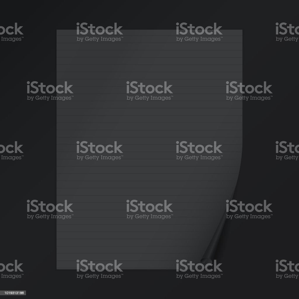 Black lined notebook paper with curled corner for text or advertising...