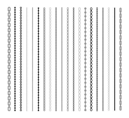Black lines of chain flat illustration set