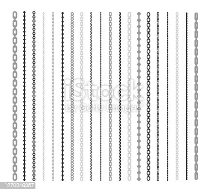istock Black lines of chain flat illustration set 1270346357