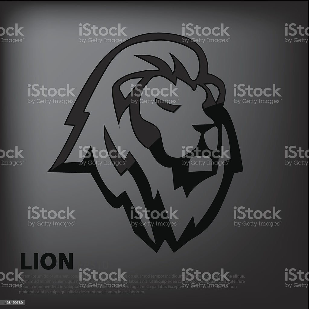 Black lion vector art illustration