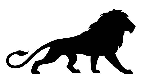 black lion - lion stock illustrations, clip art, cartoons, & icons