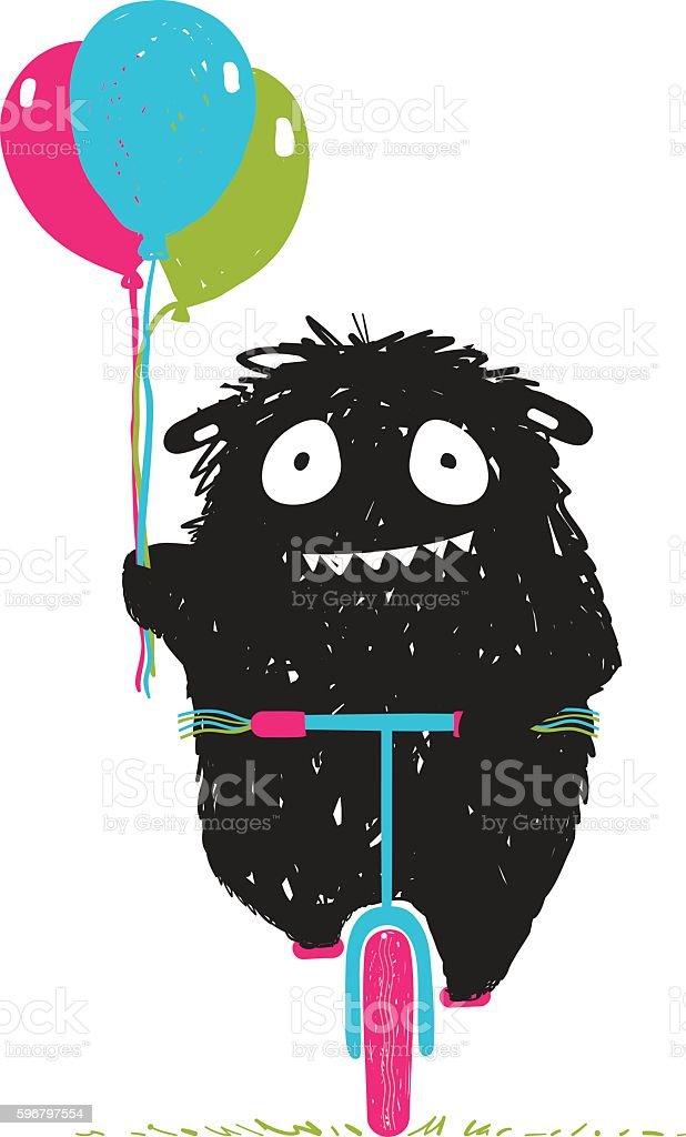 Black Little Monster Afraid of Riding Bicycle Cartoon for Kids vector art illustration