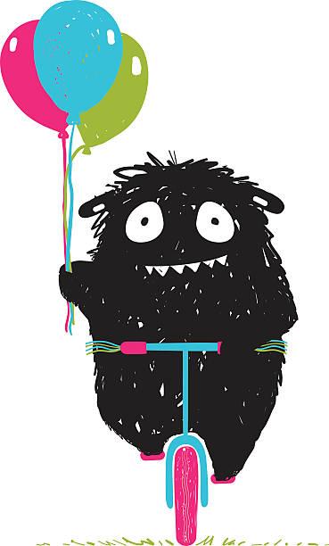 black little monster afraid of riding bicycle cartoon for kids - lustige fahrrad stock-grafiken, -clipart, -cartoons und -symbole