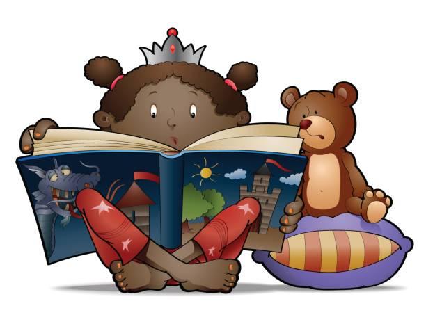 Black little princess vector art illustration