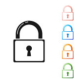 Black Lock icon isolated on white background. Padlock sign. Security, safety, protection, privacy concept. Set icons colorful. Vector Illustration