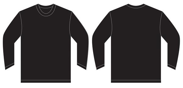 black long sleeve tshirt design template stock. Black Bedroom Furniture Sets. Home Design Ideas