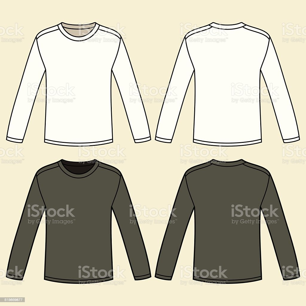 Black Long Sleeved T Shirt Template Royalty Free Stock Vector Art