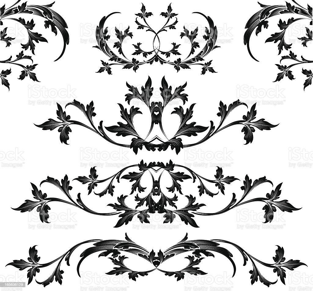 black looping arabesque set stock vector art more images of arabic style 165636129 istock. Black Bedroom Furniture Sets. Home Design Ideas