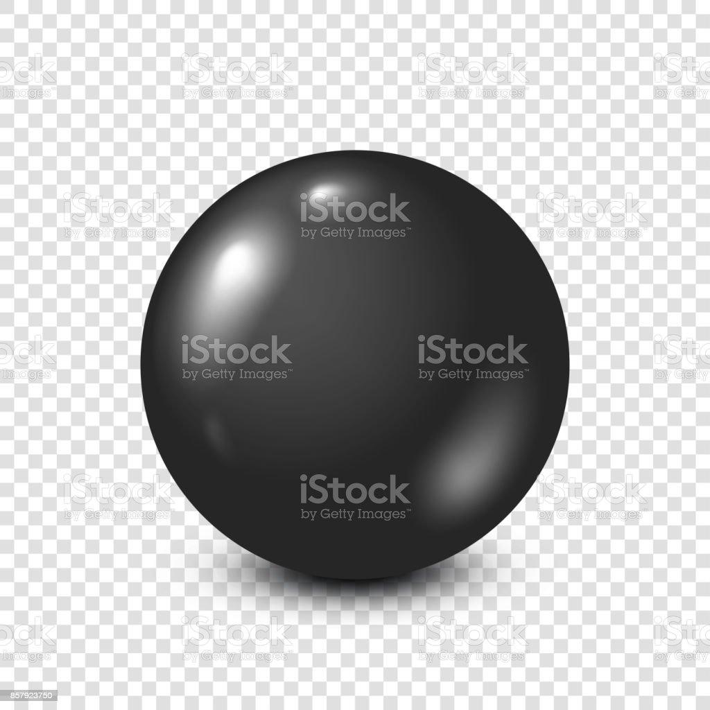 Black lottery, billiard,pool ball. Snooker. Transparent background. Vector illustration vector art illustration