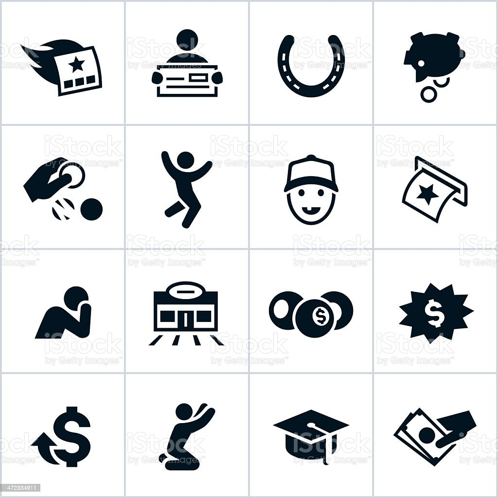 Black Lottery Icons vector art illustration