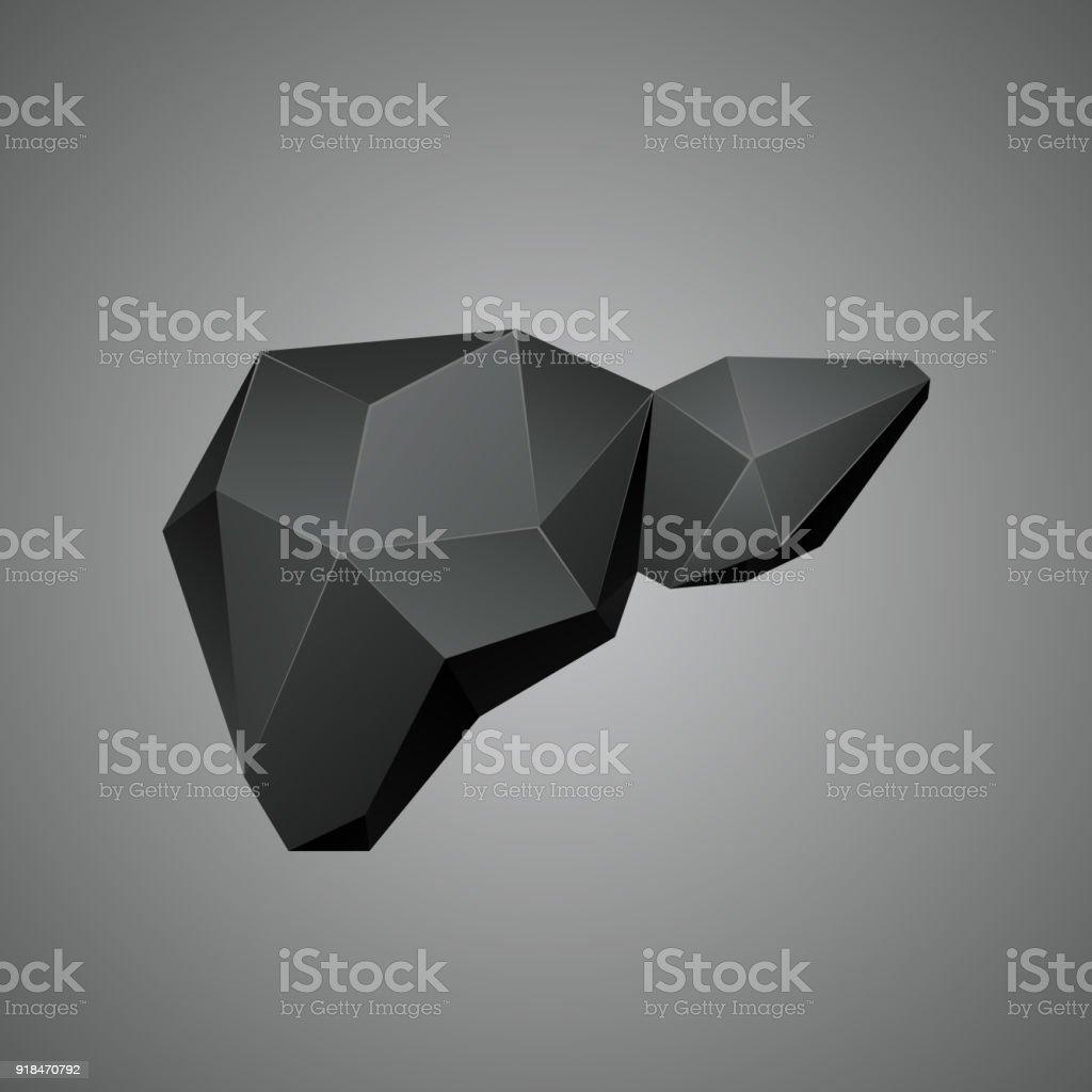 Ilustración de Hígado Humano Polivinílico Baja Negro Sobre Un Fondo ...