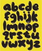 Black lower case bubble alphabet set