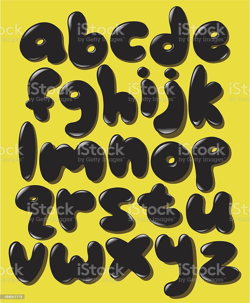 Minuscule alphabet de bulle noir - Illustration vectorielle